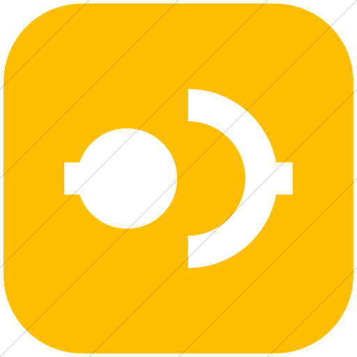 Flat Rounded Square White On Yellow Raphael Disconnect Icon