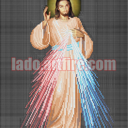 Divine Mercy Diy Bead Embroidery Kit, Religious Picture Lado