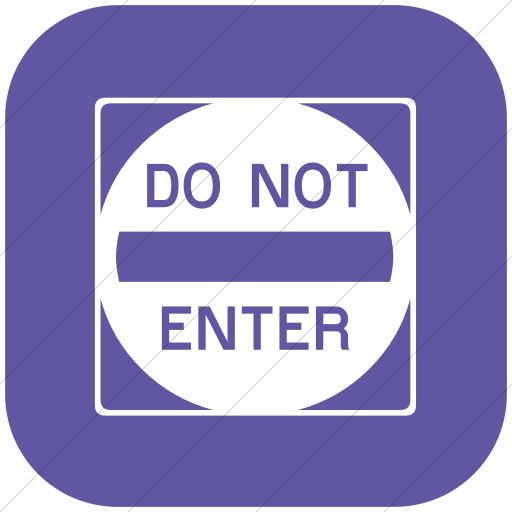 Flat Rounded Square White On Purple Classica Do Not