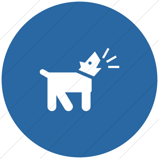 Flat Circle White On Blue Iconathon Barking Dog Icon