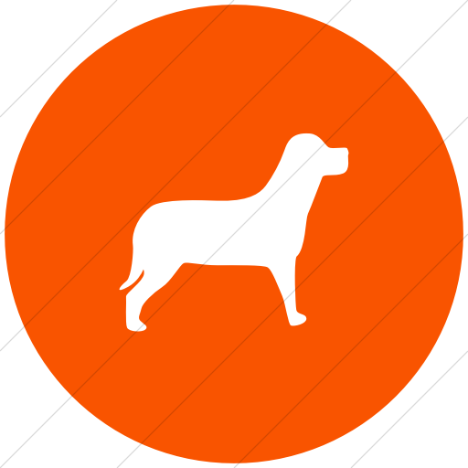 Flat Circle White On Orange Animals Dog Icon
