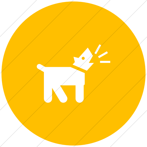 Flat Circle White On Yellow Iconathon Barking Dog Icon