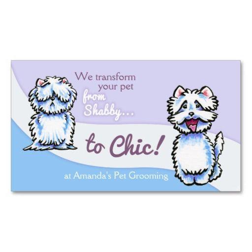 Dog Groomer Shabby Chic Westie Business Card Biz Ideas Dogs