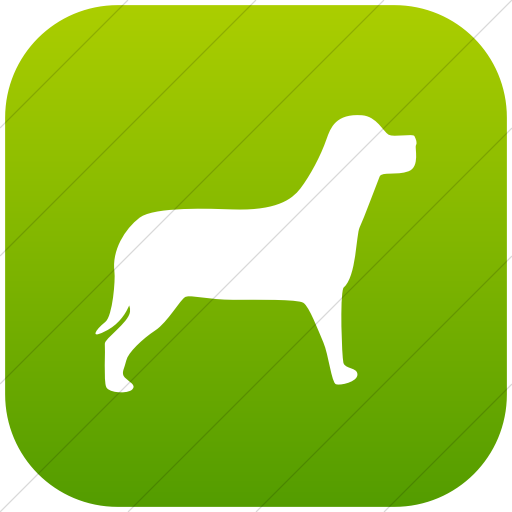 Flat Rounded Square White On Green Gradient Animals Dog