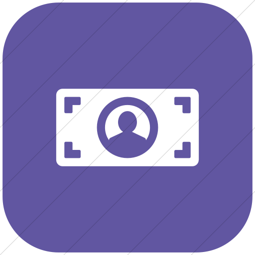 Flat Rounded Square White On Purple Foundation Dollar