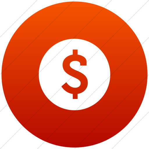 Flat Circle White On Red Gradient Raphael Dollar Sign Icon