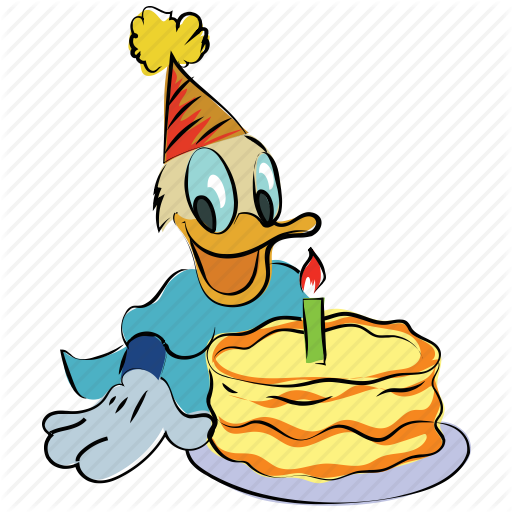 Birthday, Birthday Cake, Cartoon, Donald, Duck, Happy Christmas Icon