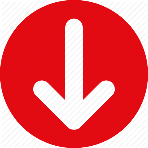Arrow, Down, Red Icon