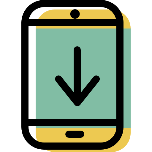 Smartphone, Back, Down, Arrow Icon Free Of Color Interaction