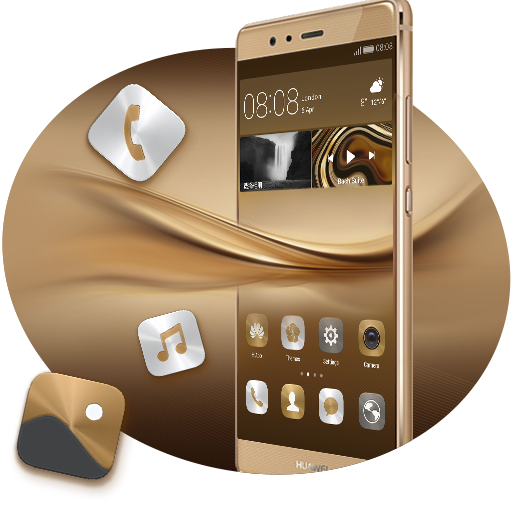 Download Theme For Huawei Gold Wallpaper Icon Pack