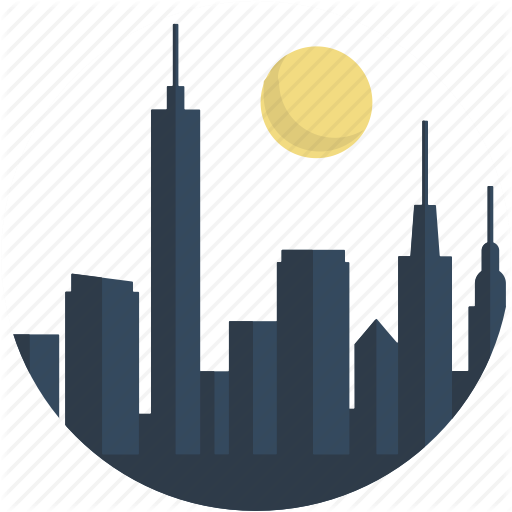 Circle, City, Downtown, Landscape, Night, Scenery, Town Icon