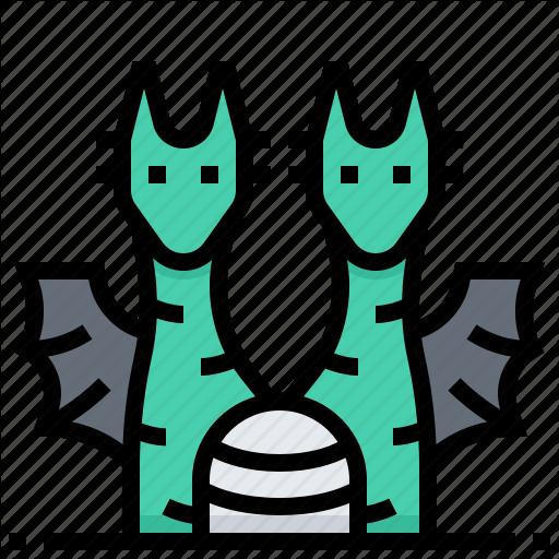 Animal, Double, Dragon, Head, Monster Icon