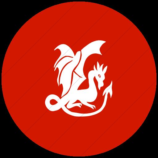 Flat Circle White On Red Animals Dragon Icon