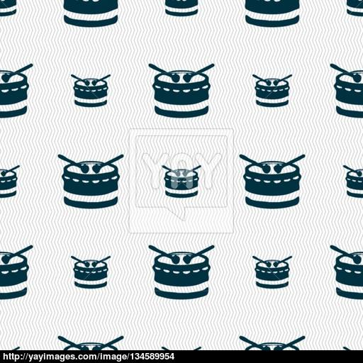 Drum Icon Sign Seamless Pattern With Geometric Texture Vector