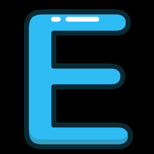 Blue, Letters, Letter, Alphabet, E Icon