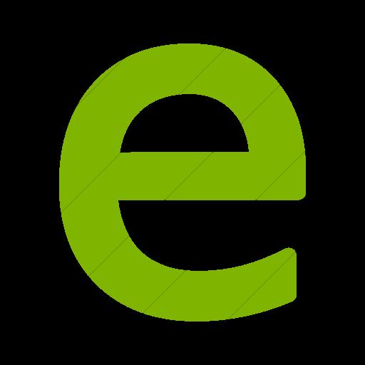 Simple Green Alphanumerics Lowercase Letter E Icon