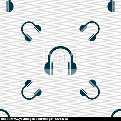 Headphones Icon Sign Seamless Pattern With Geometric Texture