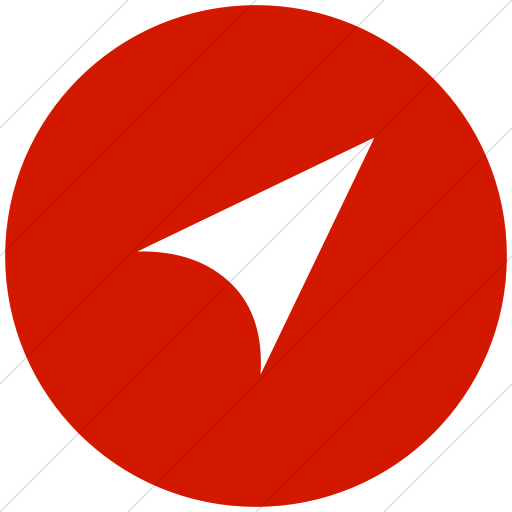Flat Circle White On Red Classic Arrows Direction North