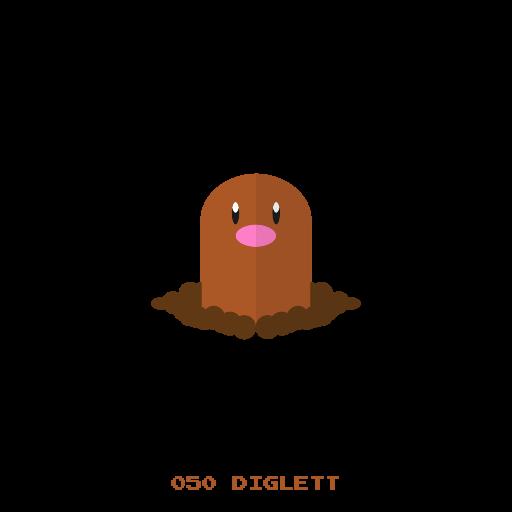 Diglett, Ground, Kanto, Pokemon Icon