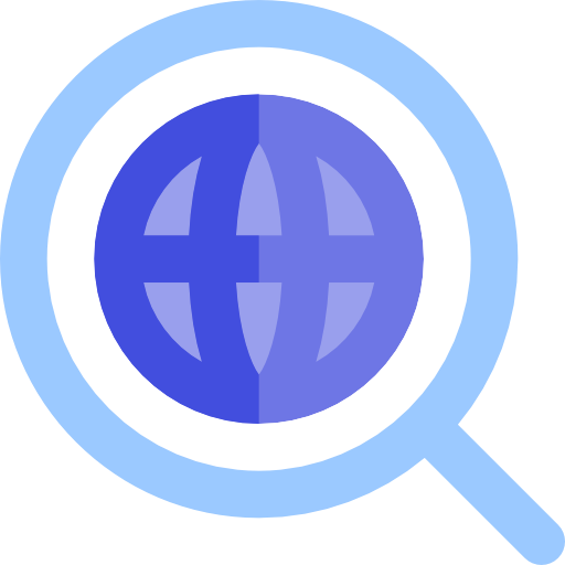 Global, Search, Magnifying Glass, Loupe, Earth Grid, World Grid Icon