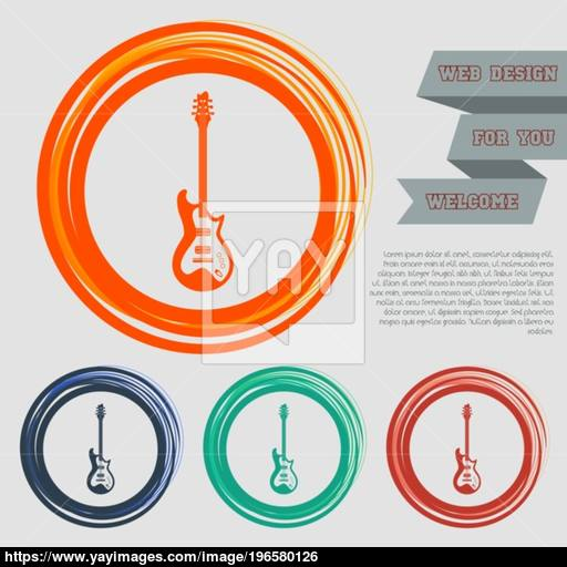 Electric Guitar Icon On The Red, Blue, Green, Orange Buttons