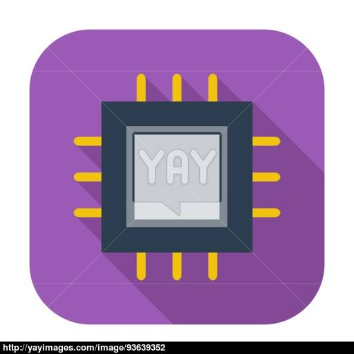 Electronic Chip Flat Icon Vector