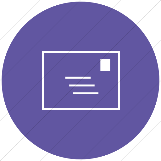 Flat Circle White On Purple Classica Email Icon