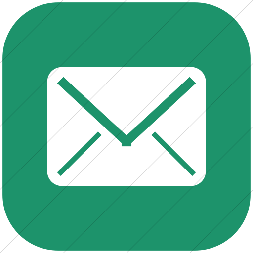 Flat Rounded Square White On Aqua Broccolidry Email Icon
