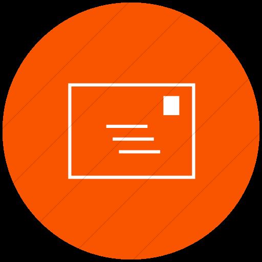 Flat Circle White On Orange Classica Email Icon