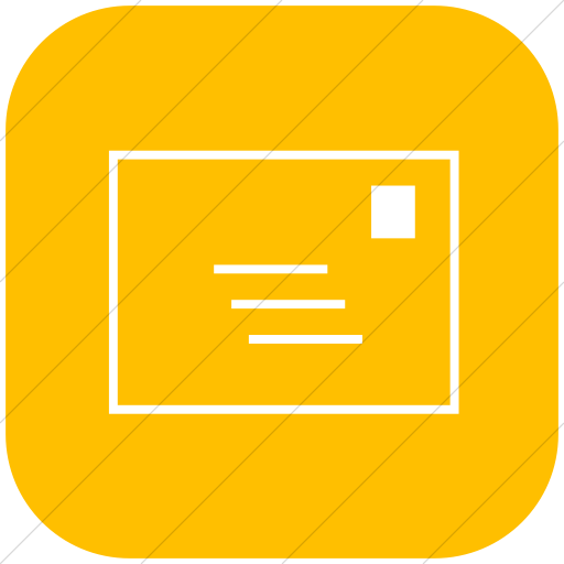 Flat Rounded Square White On Yellow Classica Email Icon