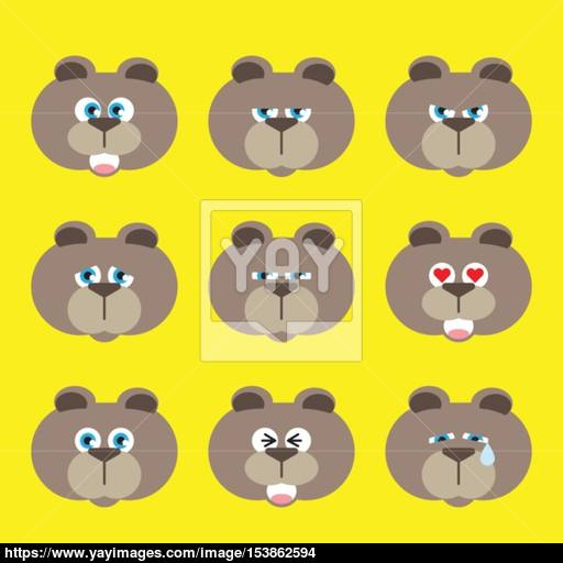 Bear Emotion Icon Set