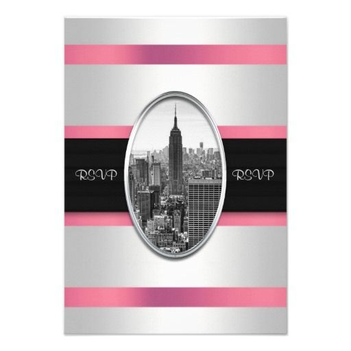 Empire State Building Invite White Pink Rsvp New York Skyline