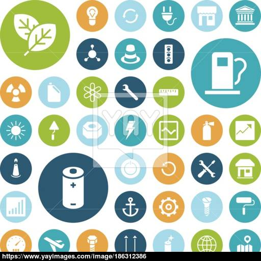 Flat Design Icons For Industrial, Energy And Ecology Vector