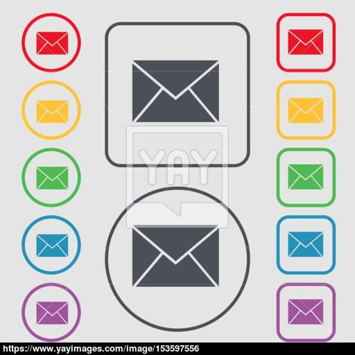 Mail, Envelope Icon Sign Symbol On The Round And Square Buttons