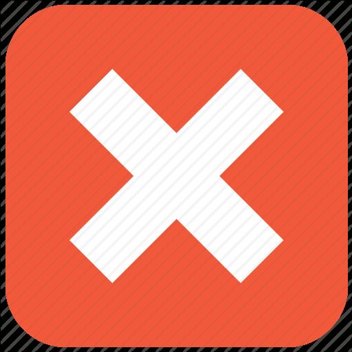 Delete, Error, Exit, Remove, Stop, X Cross Icon