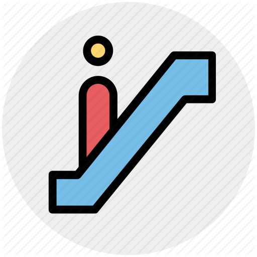 Down, Escalator, Level, Lift, Staircase, Stairs Icon
