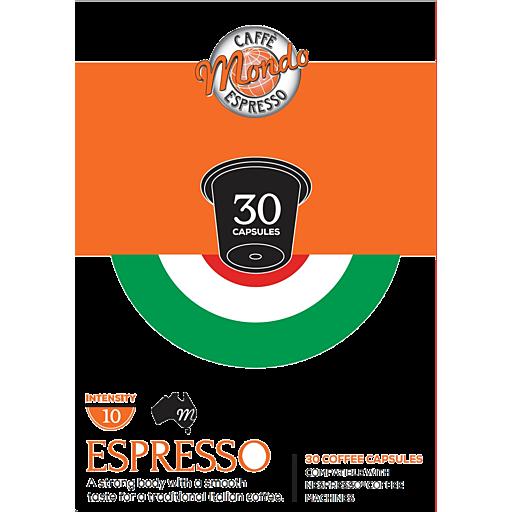 Caffe Mondo Espresso Coffee Capsules Espresso Pack
