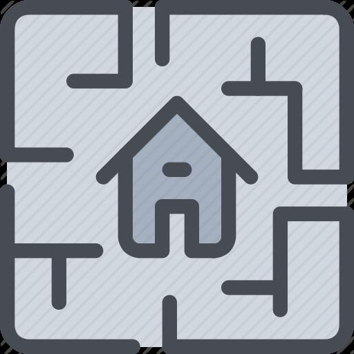 Estate, Home, House, Plan, Property Icon