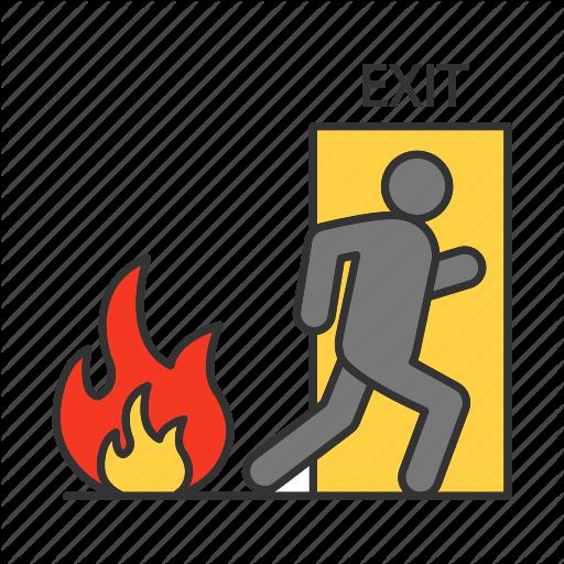 Door, Emergency, Escape, Evacuation, Exit, Fire, Firefighting Icon