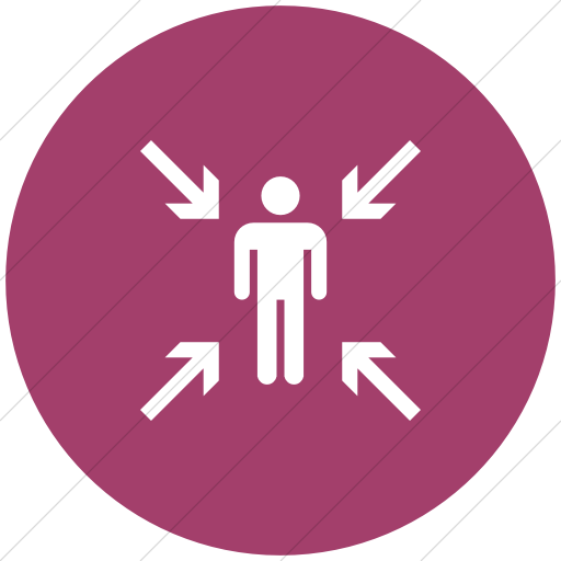 Flat Circle White On Pink Iconathon Evacuation Point Icon