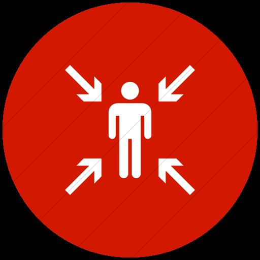 Flat Circle White On Red Iconathon Evacuation Point Icon