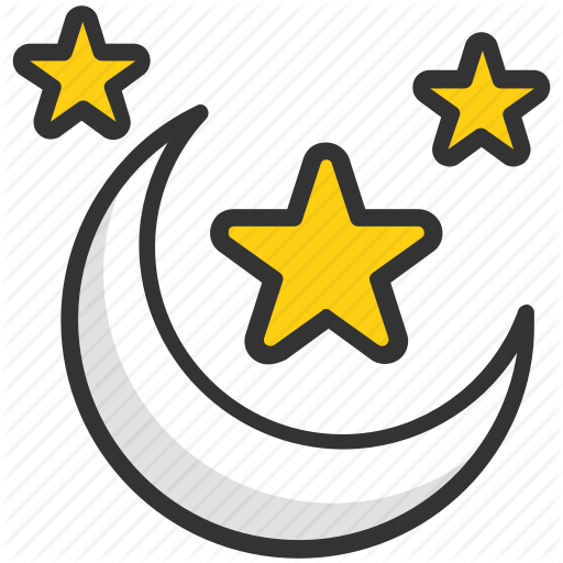 Evening, Moon, Night, Nighttime, Stars Icon