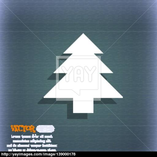 Christmas Tree Icon Symbol On The Blue Green Abstract Background