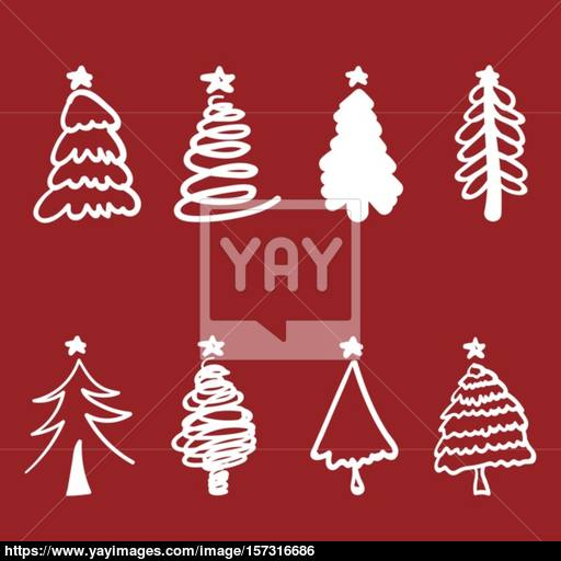 Christmas Tree Silhouette Design Vector Set Concept Tree Icon C