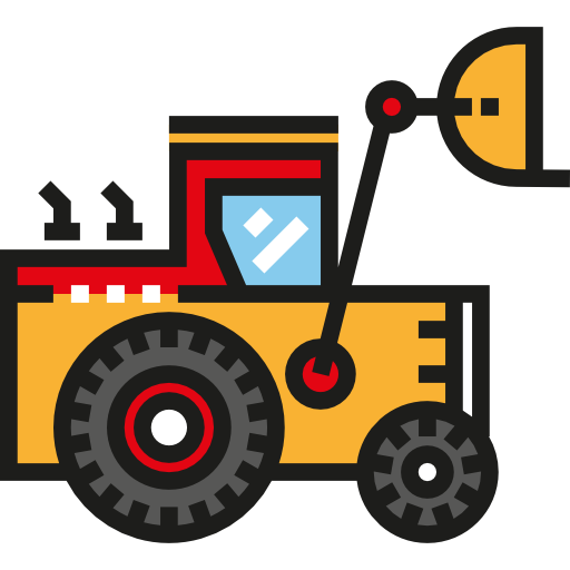 Construction, Transportation, Bulldozer, Transport, Excavator Icon
