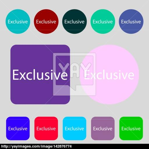 Exclusive Sign Icon Special Offer Symbol Colored Buttons