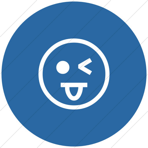 Flat Circle White On Blue Classic Emoticons Face