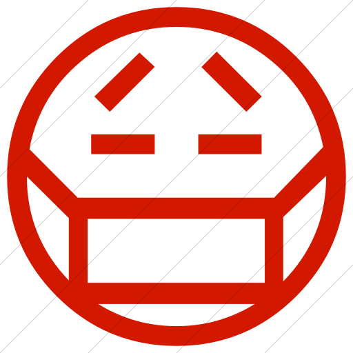 Simple Red Classic Emoticons Face With Medical Mask Icon