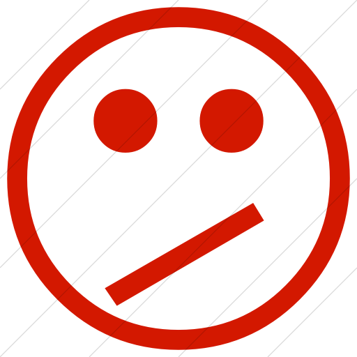 Simple Red Classic Emoticons Confused Face Icon