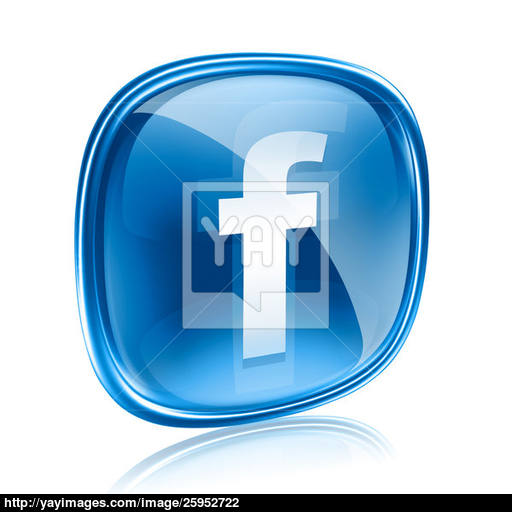 Facebook Icon Glass Blue, Isolated On White Background Image